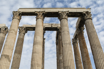 Towering pillars of the Temple of Olympian Zeus, at Athens, Greece