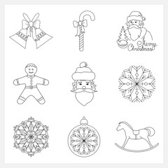Set Christmas Thin Line Icons, Holiday Jingle Bells, Santa Claus, Rocking Horse, Cookie Gingerbread,Striped Candy Cane  with Bow, Christmas Ball with Snowflake , Snowflake, Vector Illustration