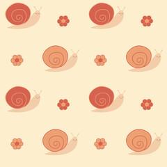 cute pastel cartoon snail seamless vector pattern background illustration