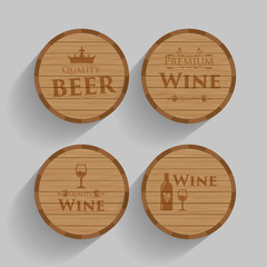 Set of wooden barrels with alcohol drinks emblems. Flat Vector illustration