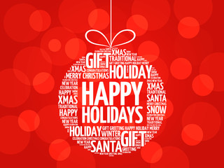 Happy Holidays christmas ball word cloud, holidays lettering collage