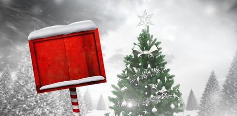 Composite image of santa sign