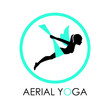 Aerial yoga training icons, vector illustration