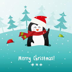 Cute Christmas penguin. Vector background.