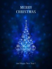 Shiny Christmas tree on blue background