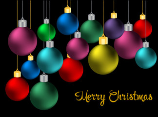 Merry Christmas 2016 vector black background with colored christmas balls.