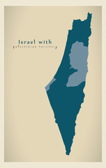 Modern Map - Israel with palestinian territory IL