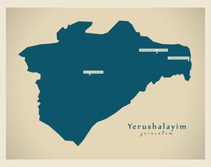 Modern Map - Yerushalayim IL