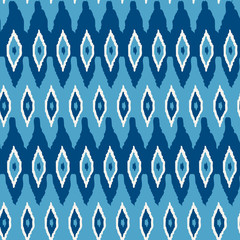 Ikat damask seamless pattern. Blue ikat background for textile, wallpaper, card or wrapping paper.