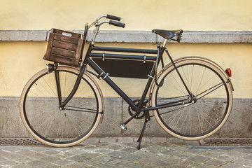 Vintage bicycle with wooden crate