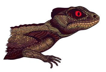 Profile Lizard. Hand drawn.