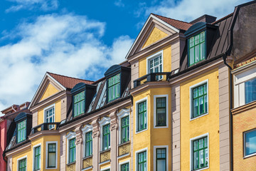 Row of Swedish colorful apartment buildings in Karlskrona