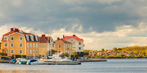 Ancient houses with boats in Karlskrona, Sweden