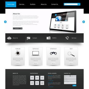 Modern Clean Business Website Template Design, Editable Vector Illustration.