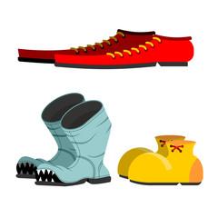 Shoes set. Old broken boots. Shoes for men long. Funny Clown sho