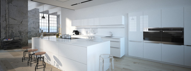 The modern kitchen. 3d rendering Fotoväggar