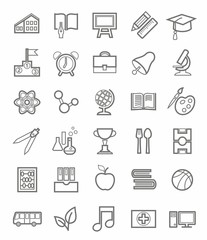 Education, icons, linear, grey outline, white background.