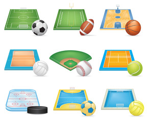Sport Fields Icons Set