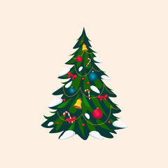 Decorated Christmas Tree, Vector Illustration