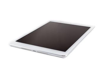Tableta sobre fondo blanco mostrando la pantalla