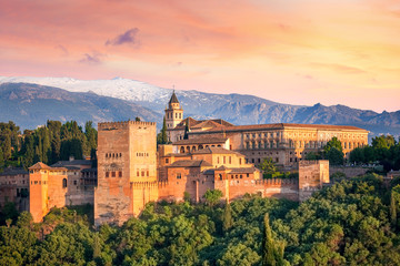 Ancient arabic fortress Alhambra at the beautiful evening Wall mural