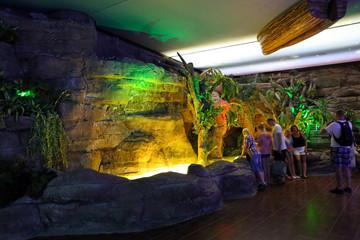 People in the Antalya aquarium.