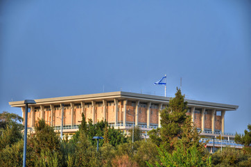Colorful picture of Knesset Israel - The Israeli Parliament House on a clear blue sky