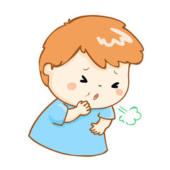 coughing boy cartoon vector illustration