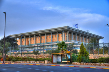 Colorful picture of Knesset Israel - The Israeli Parliament House on a clear blue cloudy sky