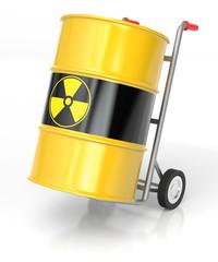 Hand Truck with Radioactive Barrels