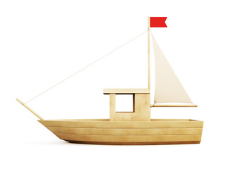 Wooden Sailboat side view. 3d.