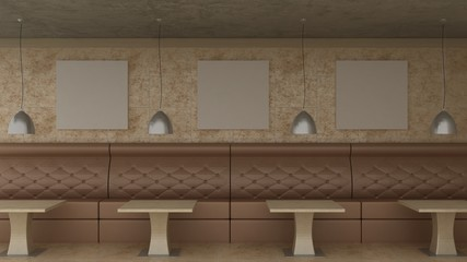 Empty picture frames in classic cafe interior background on the decorative wall with marble floor. Cafe sofa, table and luster. Copy space image. 3d render