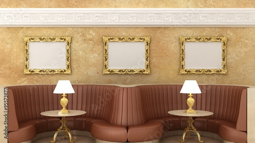 empty golden picture frames in classic cafe interior background on the decorative wall with plaster decoration - Marble Cafe Decoration