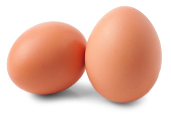 two eggs isolated on white background