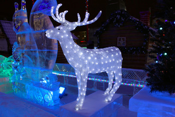 Ice sculpture of a deer. Christmas decoration