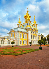 Palace church of Saints Peter and Paul in Peterhof, Russia.