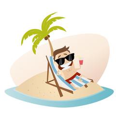 urlaub strand insel palme mann