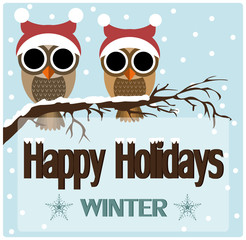 Happy Holidays Card. Owls. Vector Illustration.