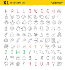 One hundred Halloween thematic vector linear icons set for web design and applications, for print design, party banners and more.