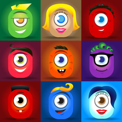 Happy cute cartoon monster faces vector set. cute square avatars and icons.