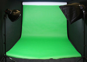 Green Screen studio backdrop and film lighting rigs
