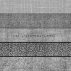 Set of five seamless relief texture of stone, asphalt, concrete and marble. Vector, EPS 10