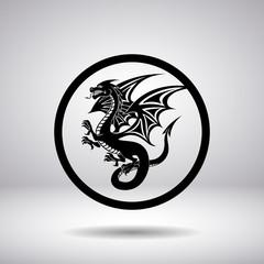 Dragon silhouette in a circle