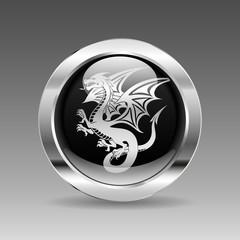 Black glossy chrome button - Dragon