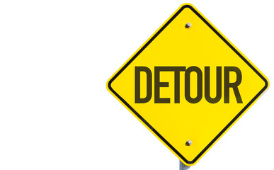 Detour sign isolated on white background