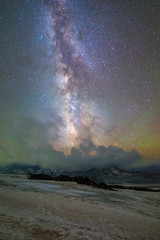 Starry night in Caucasus mountais