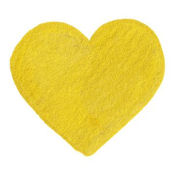 Golden yellow velvet heart symbol isolated