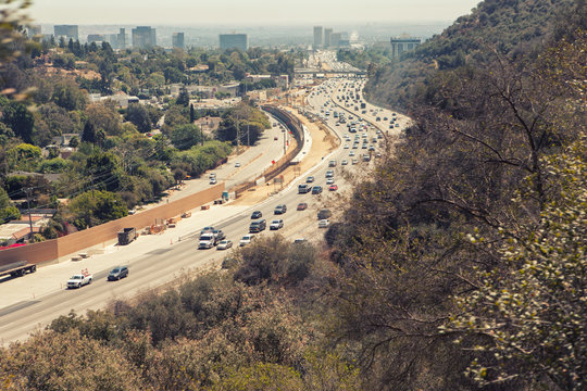 Aerial  view of Los Angeles 405 San Diego Freeway from Getty Cen