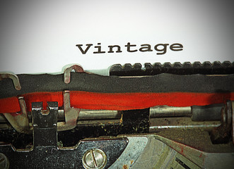 vintage written with black ink with the typewriter