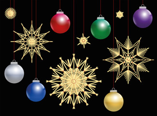 Straw stars and colorful christmas tree balls at night. Isolated vector illustration over black background.